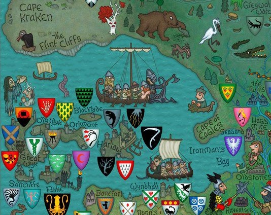 game of thornes map with Houses Of The Iron Islands on 3415490730 in addition Game Of Thrones Cersei Westeros Map Jim Stanes Hbo 1201860936 as well 9495688283 together with Reach as well File Tollymore Forest Park  September 2010  10.